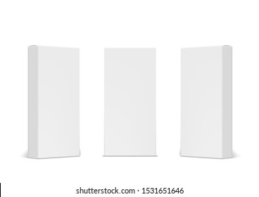 3D Blank White Product Packaging Boxes Isolated. EPS10 Vector