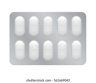 3d blister with pills for illness and pain treatment. Medical drug package for tablet: vitamin, antibiotic, aspirin. Realistic mock-up of packaging. Vector illustrations of pack isolated on background