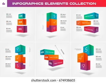 3d blocks, stairs of success/project, Infographic Elements Collection - Business Vector Illustration in material design style for presentation,  timeline, workflow, booklet, website. Big set