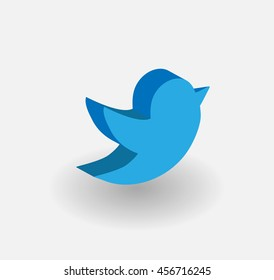 3d Blue Bird Tweet Bird Vector Logo, JPG, JPEG, EPS.Twitter Icon Button.Flat Social Media Twiter Sign
