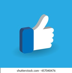3D Blue Button Hand Like Icon Vector Background, JPG JPEG,EPS Logo design yes Download Face book Social media