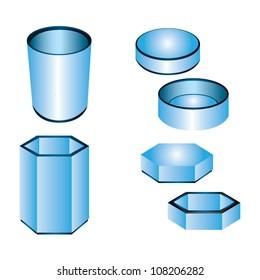 3d blue cylinder, box, packaging design