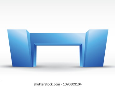 3d blue gate entrance exhibition vector editable with modern style on isolated background