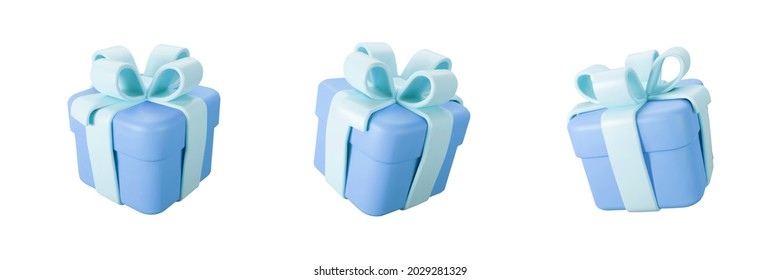 3d blue gift box set with pastel ribbon bow isolated on a white background. 3d render flying modern holiday closed surprise box. Realistic vector icon for present, birthday or wedding banners