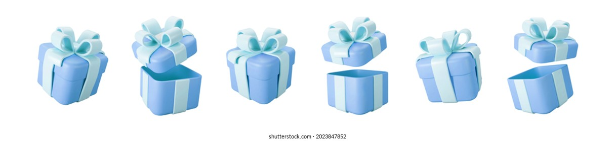3d blue gift boxes open and closed set with pastel ribbon bow isolated on a white background. 3d render flying modern holiday surprise box. Realistic vector icon for birthday or wedding banners
