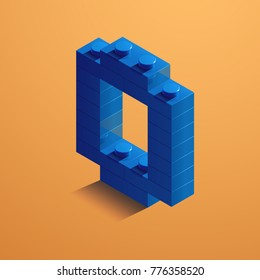 3d Blue numbered from lego brick on yellow background. 3d number from lego bricks