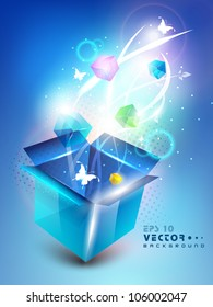 3D blue opened box with full of shine small gift box and butterflies, Abstract background. EPS 10.