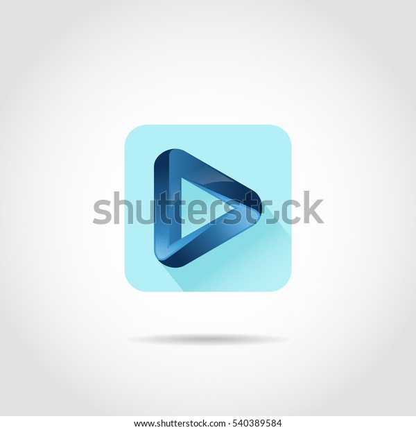 3d Blue Play Icon Apps Android Stock Vector (Royalty Free) 540389584