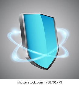 3d blue shield with glowing effect, vector illustration