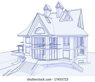 3d blueprint house: vector technical draw