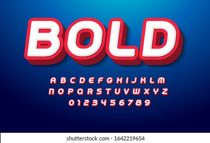 3D bold alphabet. Pop art font, heavy type for modern super hero monogram, prize logo, comic graphic, fun and cool poster and banner. Extrude style letter and number set, vector typography design