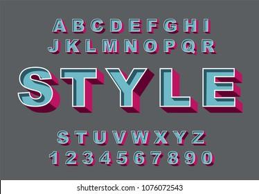 3d Bold retro alphabet font. Vintage Alphabet vector 80's, 90's Old style graphic poster set. Eighties style graphic template. Template easy editable for Your design. Bold modern style, vintage