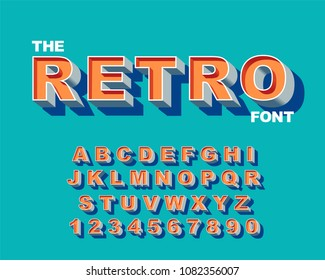 3d Bold retro font. Vintage Alphabet vector 80's, 90's Old style graphic poster set. Eighties style graphic template. Template easy editable for Your design. Bold modern style, vintage