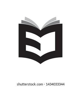 3D Book with letter EJ logo design vector