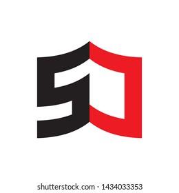 3D Book with letter SJ logo design vector