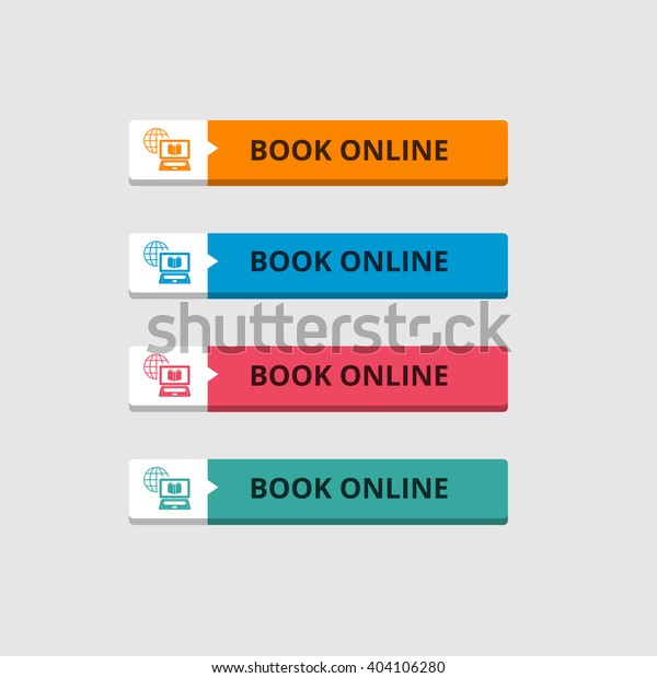 3d Book Online Button Set Icons Stock Vector (Royalty Free