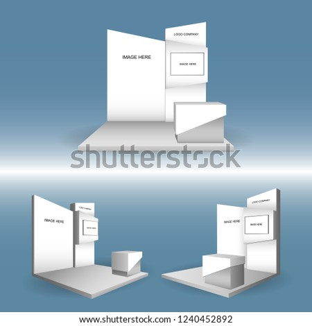 Exhibition Booth Backdrop : 3 d booth exhibition backdrop led tv stock vector royalty free