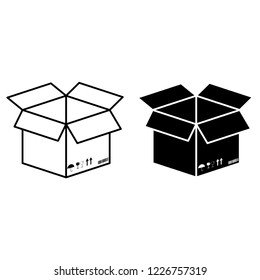 3d box icon on a white background Design for print and on-site packaging.
