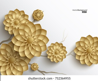 3D branches of golden arabesque style blossoms on white background