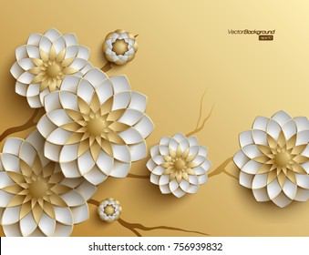 3D branches of golden arabesque style blossoms on golden background