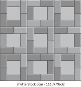 3D brick stone pavement, gray vector sidewalk, stone pathway texture background