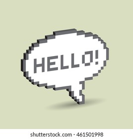 3d Bubble greeting with Hello! pixelated illustration. - Stock vector