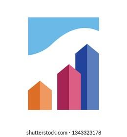 3D building logo template vector icon design