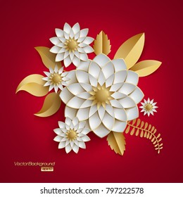 3D bunch of golden arabesque style white flowers on red background