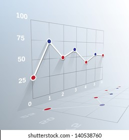 3d Business graph. Vector illustration. . Can be used for infographics