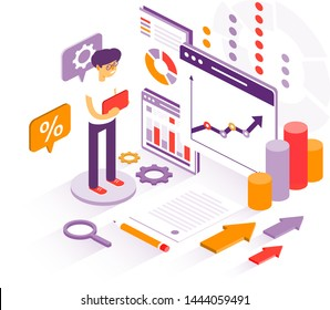 3d business infographics with a businessman analysing various charts as concept for any financial analysis on white background for copy space