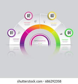 3D Business  infographics design,circle chart  template with 4 options or steps, can be used for workflow layout, diagram, annual report, web design.,marketing icons