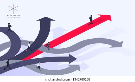 3d Businessman Run Ahead Of The Team Over Red Arrow. He Chose Right Path. Conceptual Isometric Better Choice Vector Illustration.