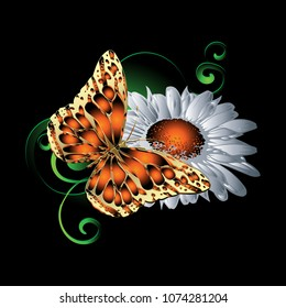 3d butterfly pattern. Vector colorful illustration. Black floral background with bright textured monarch butterfly, chamomile flowers, green paisley flowers, swirls. Surface texture. Ornate design.