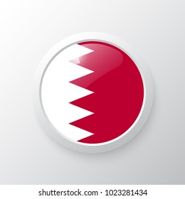 3D Button with Bahrain flag. as round glossy icon on background isolated. Vector illustration eps 10.