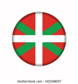 3D button Flag of Basque Country autonomous communities of the Spain. Vector illustration.
