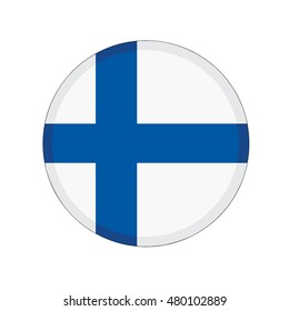 3D button Flag of Finland. Vector illustration.