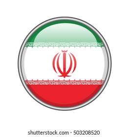 3D button Flag of Iran. Vector illustration.