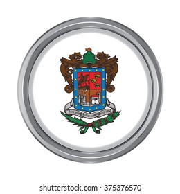 3D button Flag of Michoacan states, federal district of Mexico. Vector illustration.