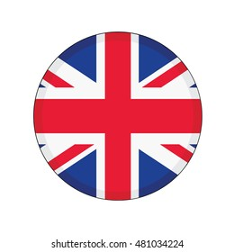 3D button Flag of United Kingdom. Vector illustration.