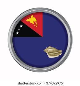 3D button Flag of West New Britain provinces,autonomous region,district of Papua New Guinea. Vector illustration.