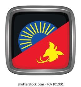 3D button Flag of West Sepik provinces,autonomous region,district of Papua New Guinea. Vector illustration.