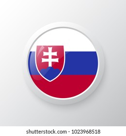 3D Button with Slovakia flag. as round glossy icon on background isolated. Vector illustration eps 10.