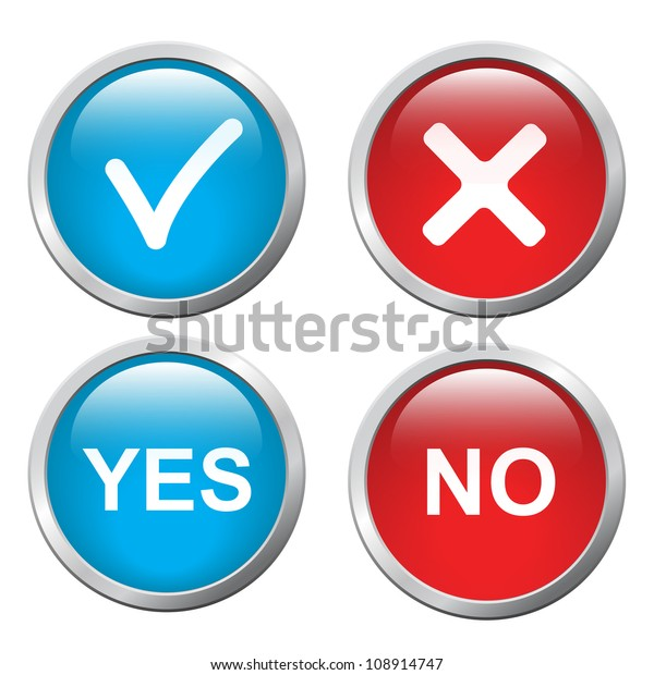 3d Button Yes No Vector Image Stock Vector (Royalty Free