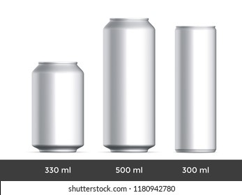 3D can mockup. Vector aluminium beer and slim soda can mock up blank template