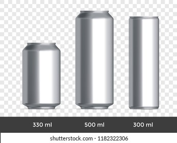 3D can mockup. Vector aluminium beer and slim soda can mock up blank template on transparent background