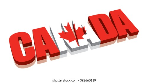 3D Canada Word Text Flag (letters)