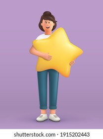 3D cartoon character. Young woman holding and hugging a big star. Customer review rating and client feedback concept. Smiling cute brunette girl. 3d vector illustration.