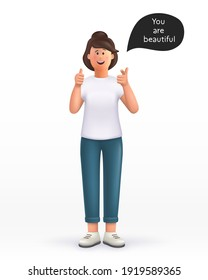 3D cartoon character. Young woman showing thumb up in approval and pointing her finger to you, making compliment, like product, guarantee quality. nice work gesture. Smiling cute brunette girl.