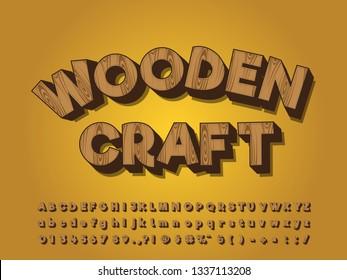 3D cartoon font effect fill with wood grain
