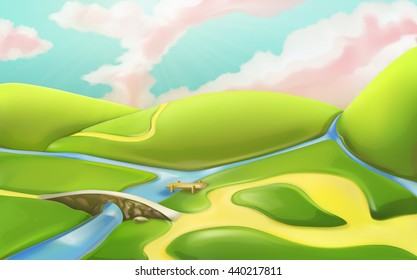 3d cartoon nature landscape with bridge, vector illustration with meadows, hills, river, and cloudy sky. Summer scenery with roads, countryside panorama, can be used as a game basic background